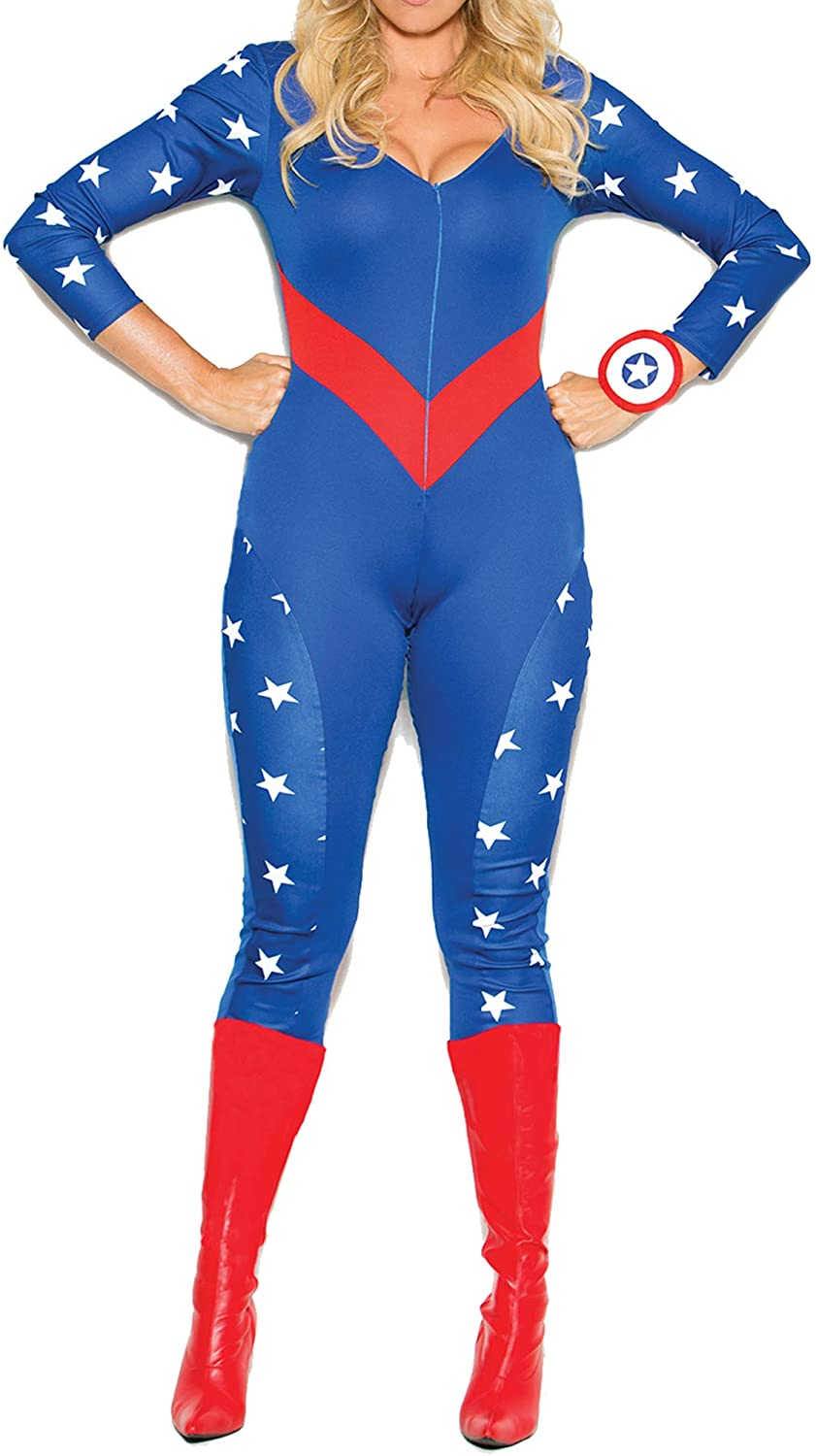Hot Spot Plus Size American Hero Costume Jumpsuit, Wrist Band & Head Piece Only