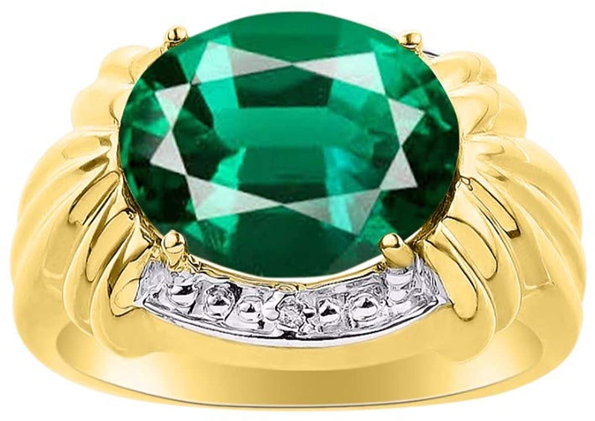RYLOS Classic Ladies Ring Oval Precious Gemstone & Genuine Sparkling Diamonds in 14K Yellow Gold Plated Silver .925-12X10MM Emerald, Ruby and Sapphire Great Ring for Middle or Pointer Finger