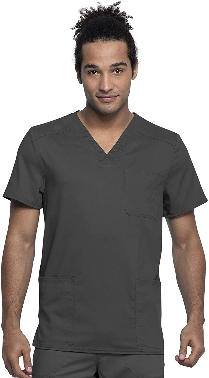 Cherokee Workwear Revolution Tech Men's V-Neck Scrub Top, 2XL, Pewter