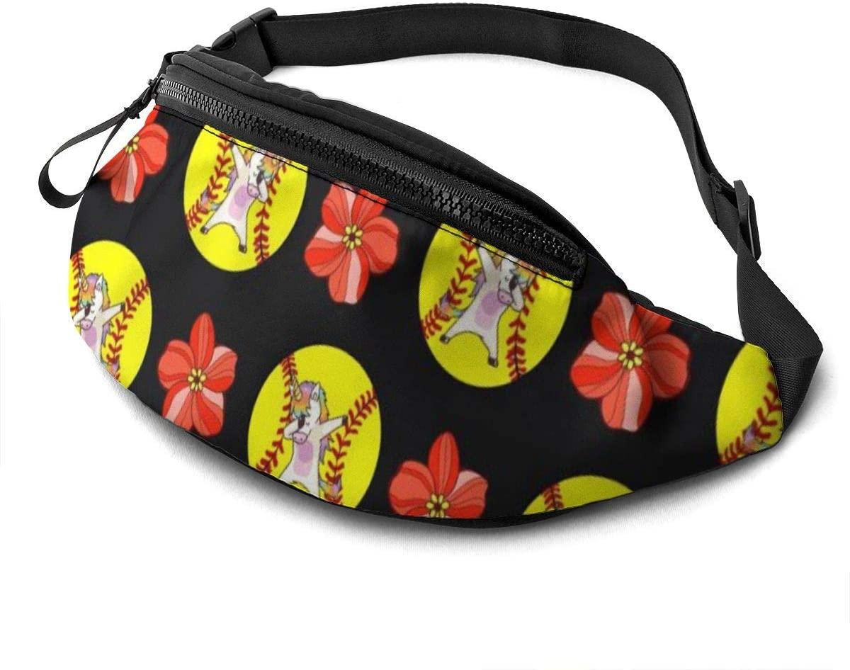 Dabbing Unicorn Softball Flower Fanny Pack For Men Women Waist Pack Bag With Headphone Jack And Zipper Pockets Adjustable Straps