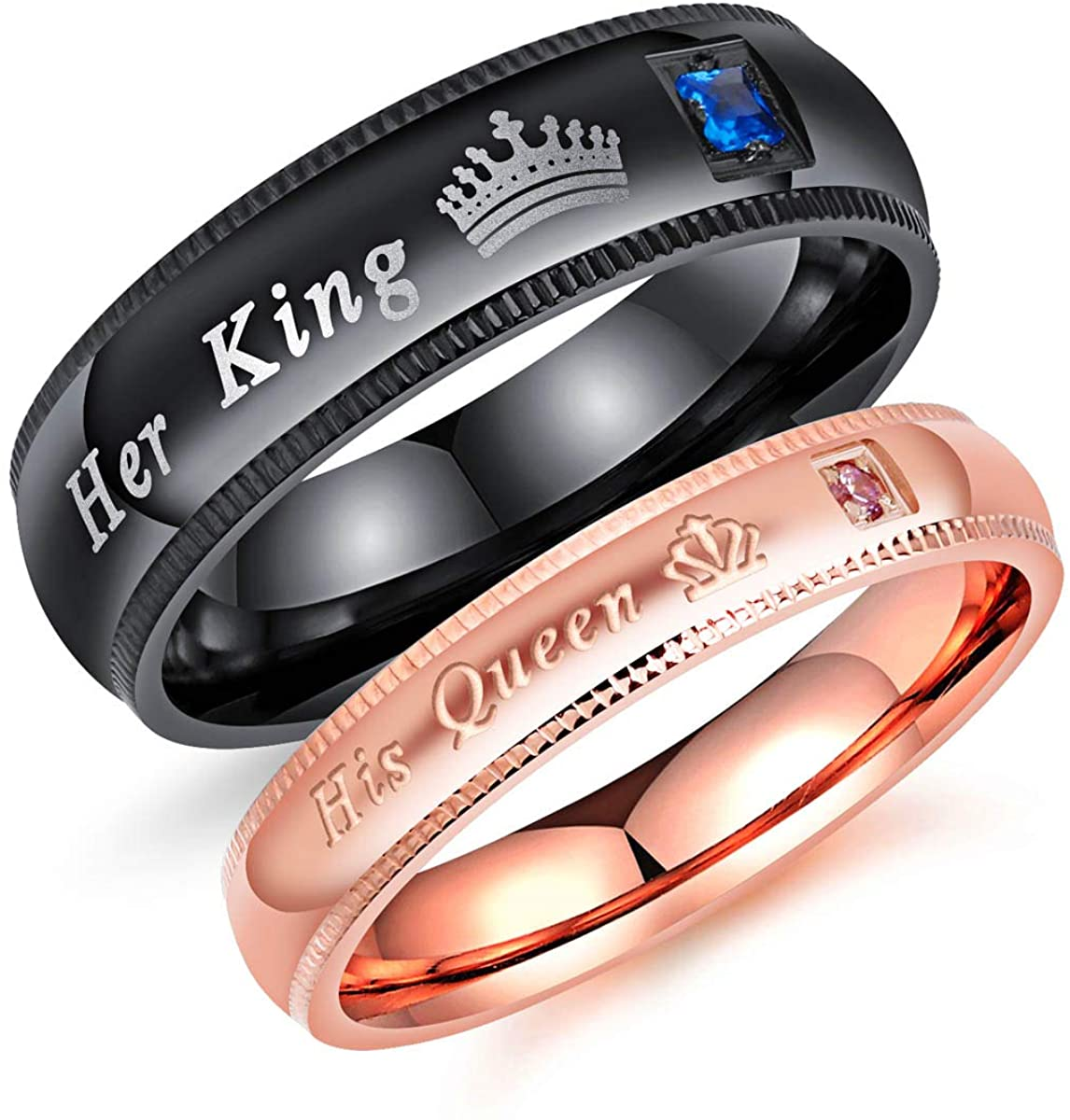 Fate Love Jewelry 2Pcs Matching Set Stainless Her Queen & His King Black/Rose Gold Couple Rings Bands, Love Gift