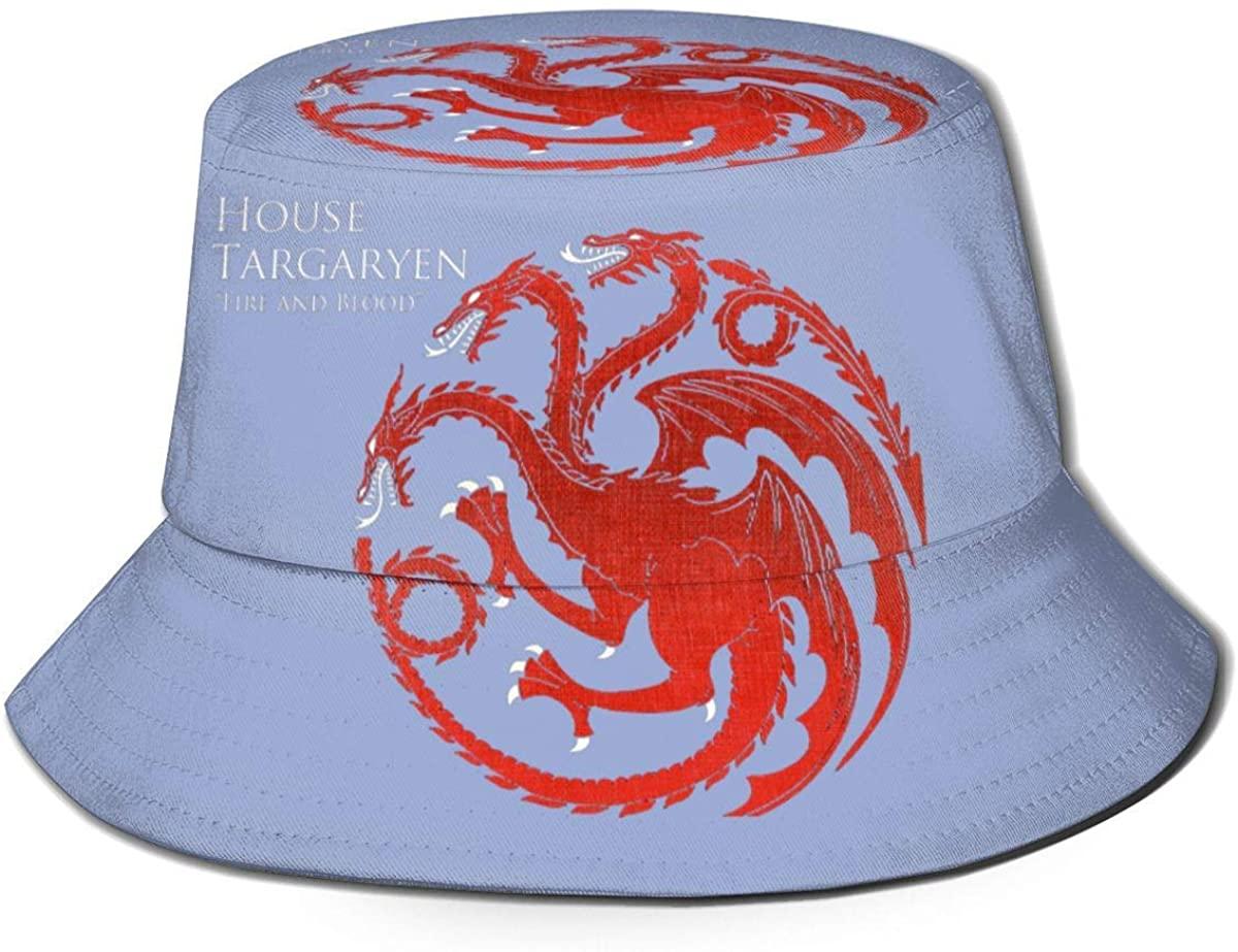 Nmfdz Cool Game of Thrones Targaryen Dynasty Sun Protection Fisherman Cap for Mans