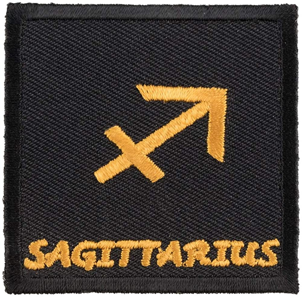 Zodiac Sagittarius Black & Gold Patch, Zodiac Patches