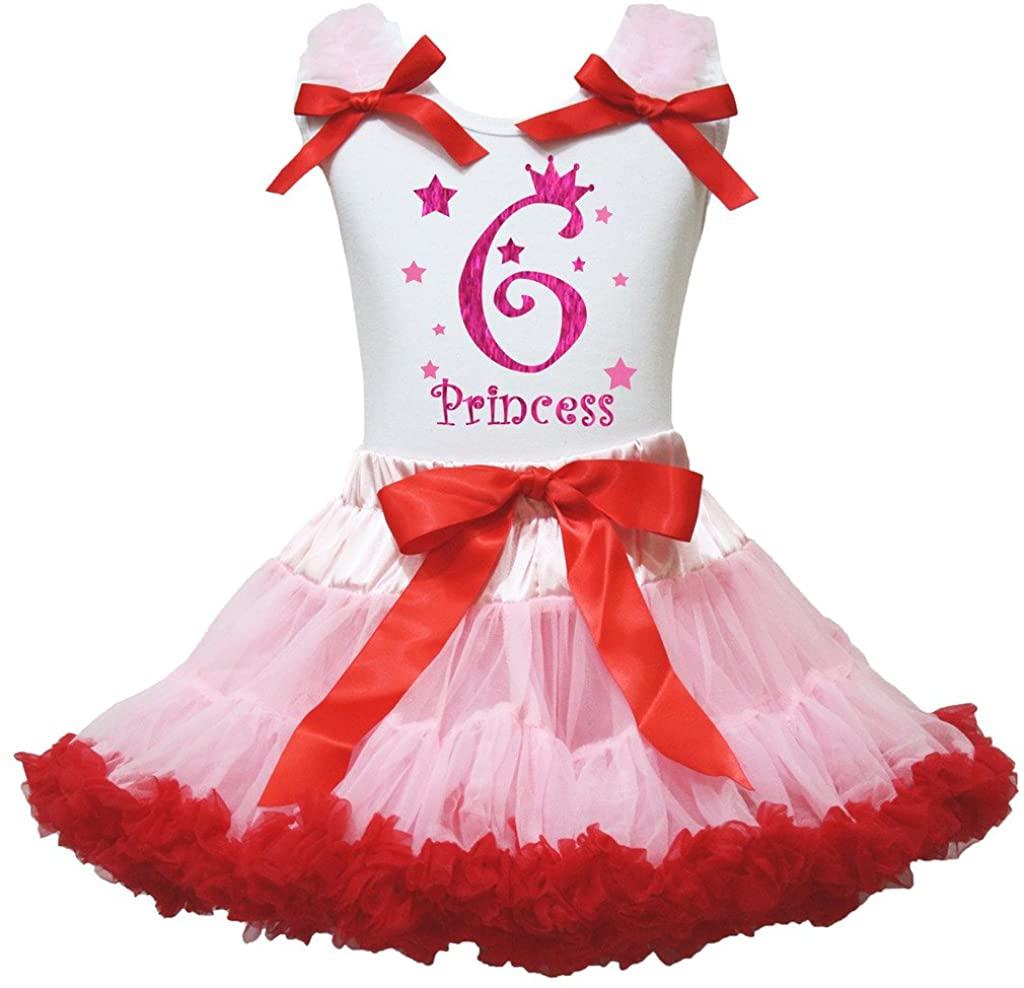 Petitebella 6th Princess White Shirt Red Ribbon Pink Skirt Set 1-8y