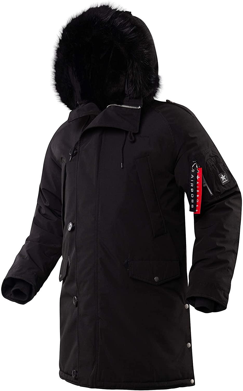 AIRBOSS N-5B Tardis Winter Coat for Men, Water perrelent Fabric (Black, L)