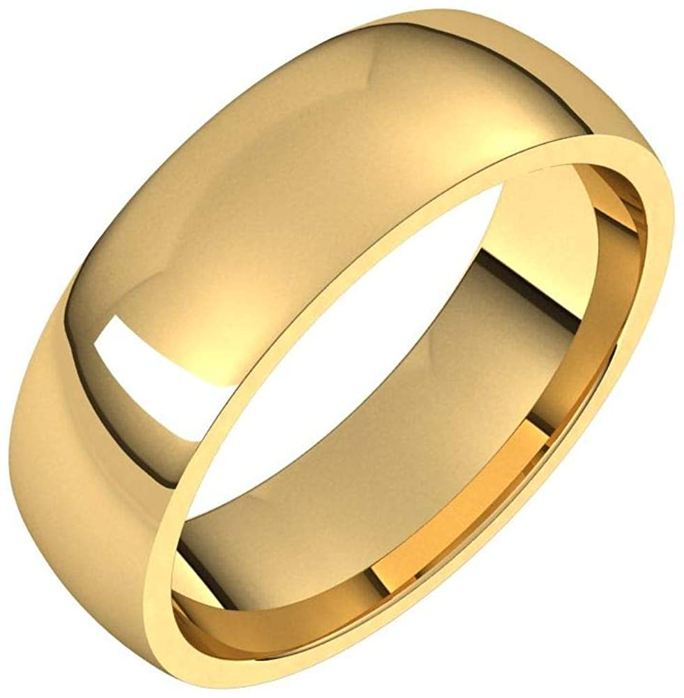 Solid 18K Yellow Gold 6mm Half Round Comfort Fit Light Wedding Band Size 10