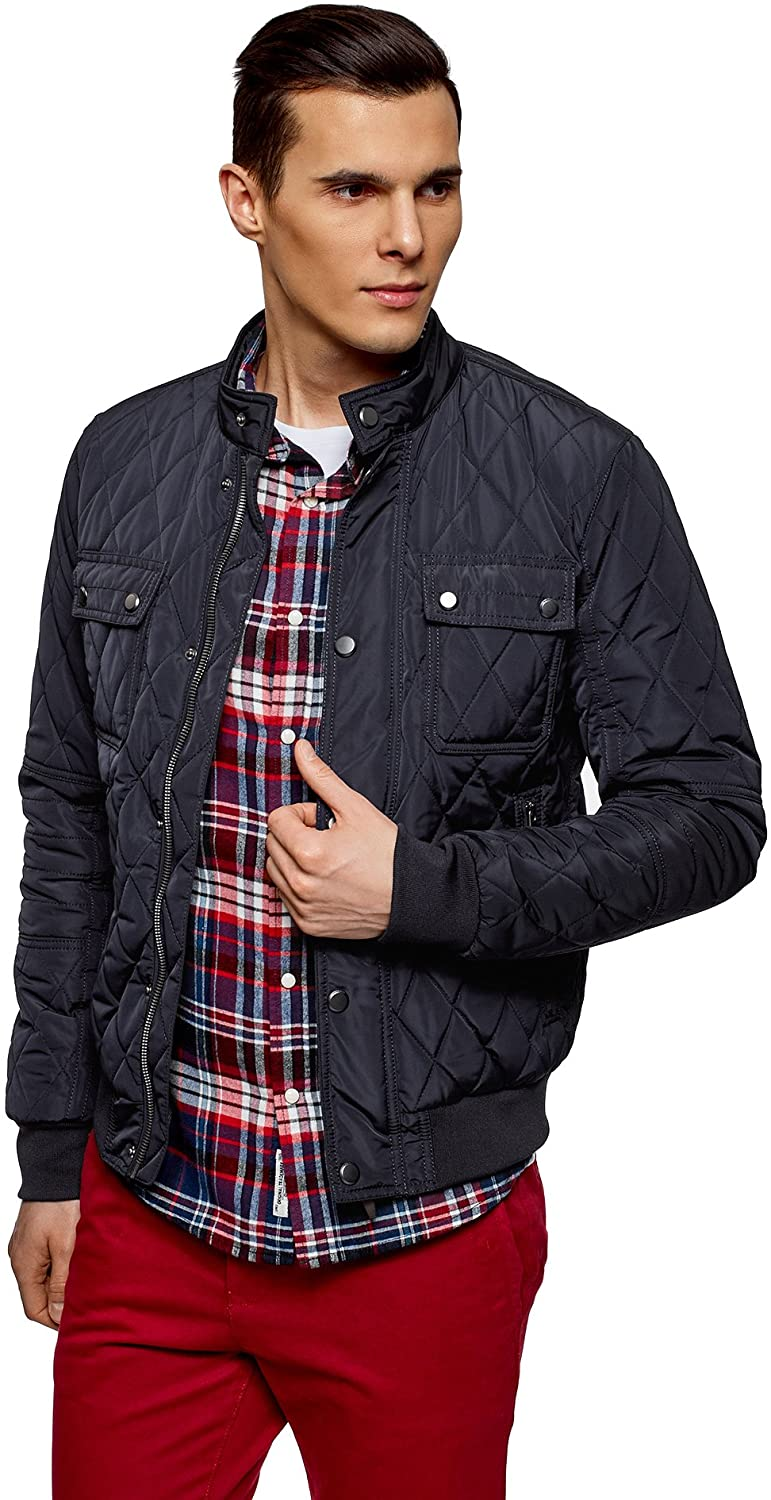 oodji Ultra Men's Quilted Stand Collar Jacket