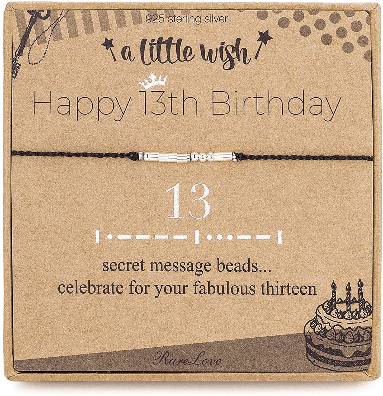 13th Birthday Gifts For Girls 13 Morse Code Bracelet Black String 925 Sterling Silver Beaded Bracelets Daughter Sister Friendship 13 Year Old Gift