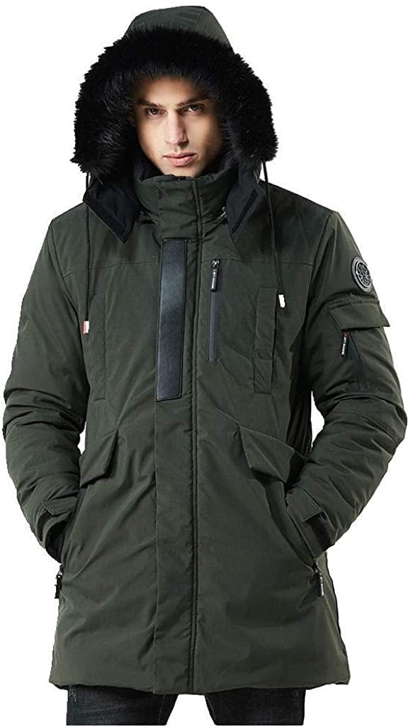 WEEN CHARM Men's Warm Parka Jacket Anorak Jacket Winter Coat with Detachable Hood Faux-Fur Trim