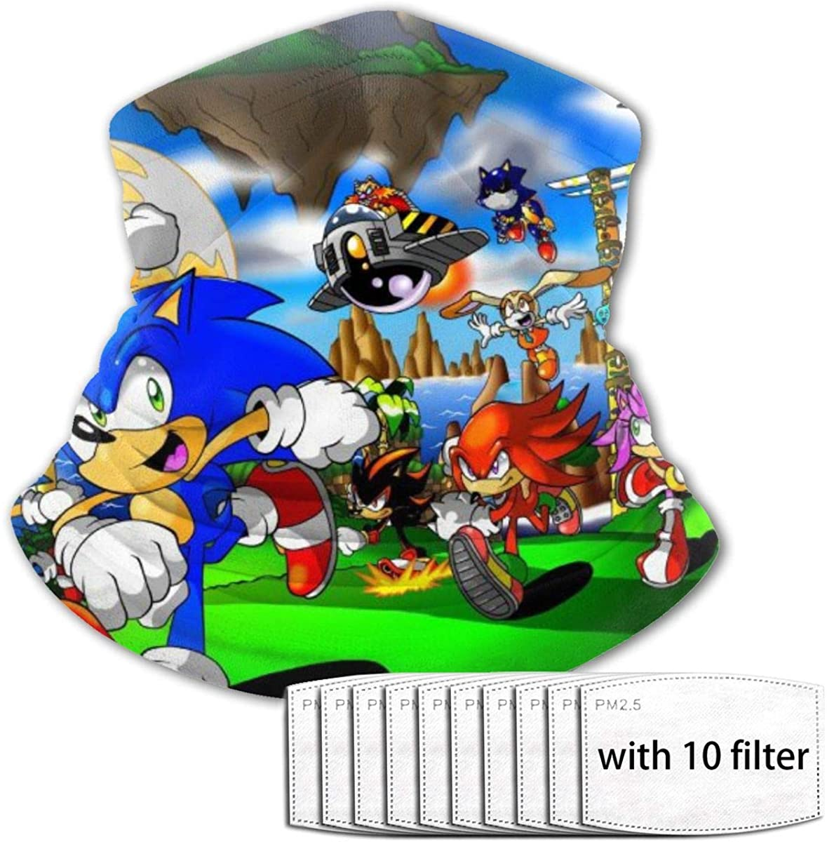 Head Scarf, Sonic The Hedgehog Windproof Face Mask with With 10 Filter Filter Headbands Bandana Head Wrap Balaclava for Youth