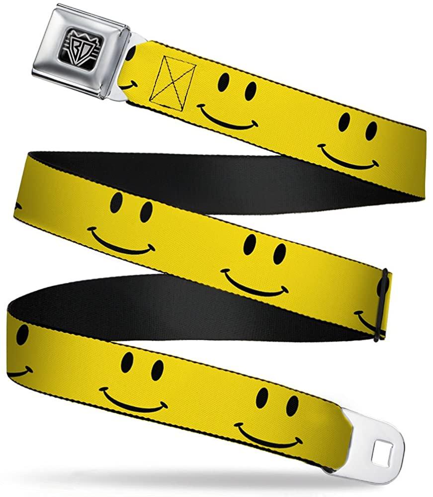 Buckle-Down Seatbelt Belt - Happy Face Yellow/Black - 1.5