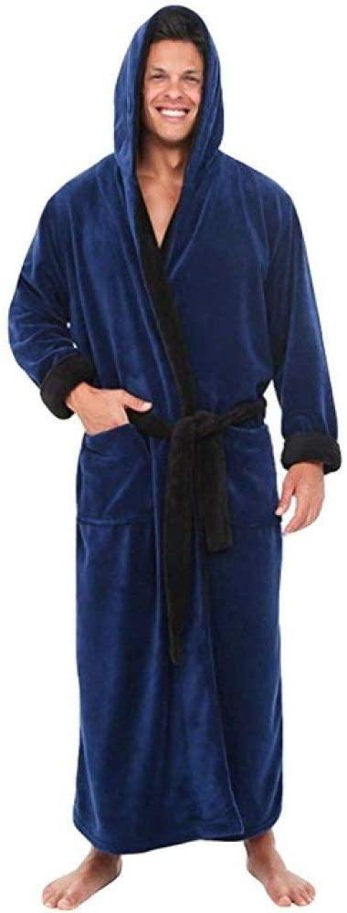 llwannr Bathrobe Robe Nightgown Sleep,Winter Bath Robe Men Lengthened Plush Shawl Bathrobe Home Clothes Long Sleeved Robe Coat,Blue,XL