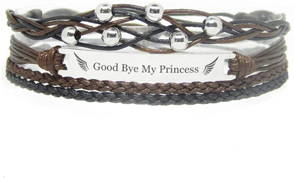 Miiras Remembrance Bracelet, Memorial Jewelry - Good Bye My Princess - Black - Beautiful Way to Remember Your Loved one That is no Longer with You