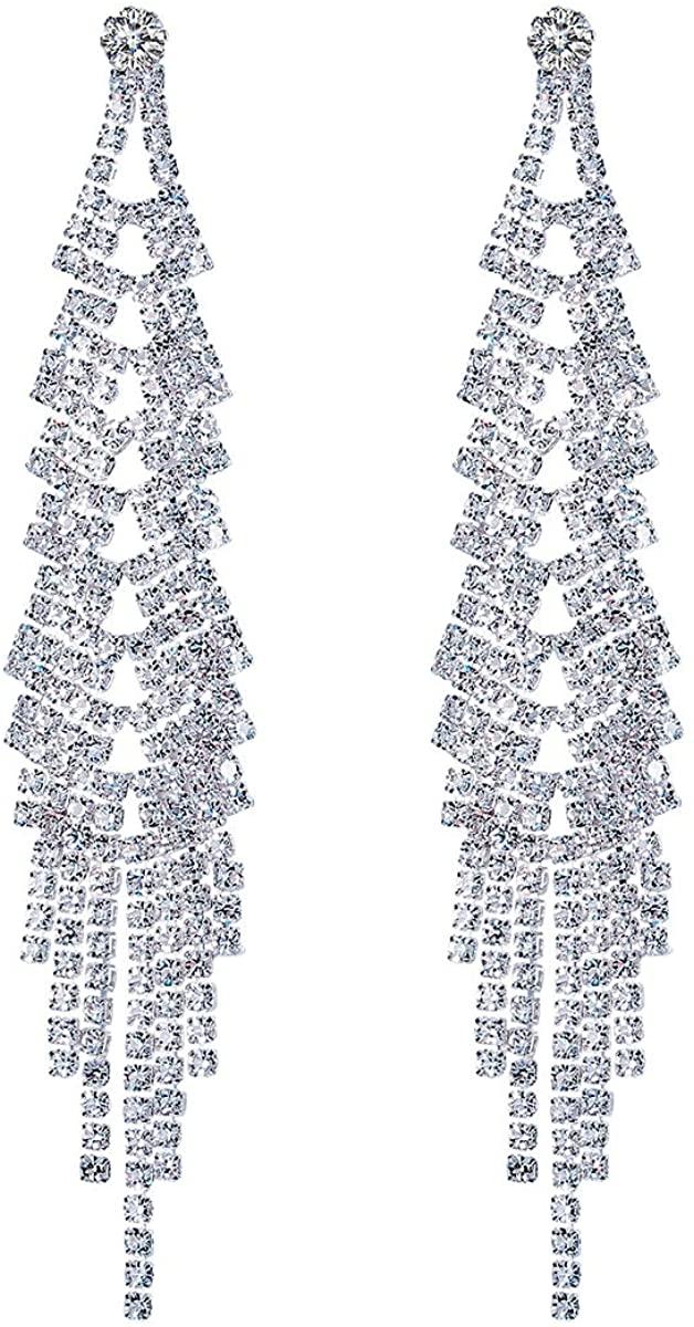 FOCALOOK Silver Elegant Rhinestone Crystal Bridal Chandelier Long Tassels Dangle Earrings for Wedding Prom