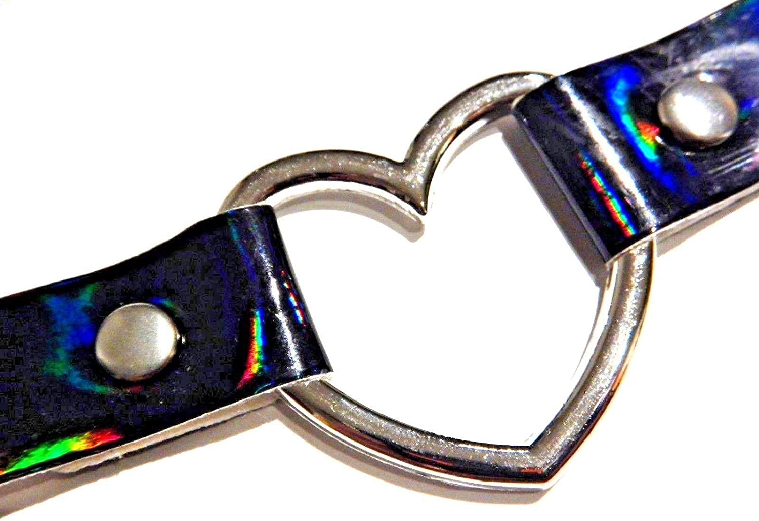 Holographic Vinyl Band Choker Collar with Heart Ring in Lavender or Black Prismatic Hologram Rainbow