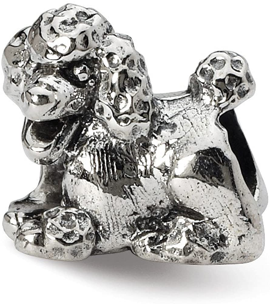 Bead Charm White Sterling Silver Themed 9.09 mm 10.00 Reflections Poodle