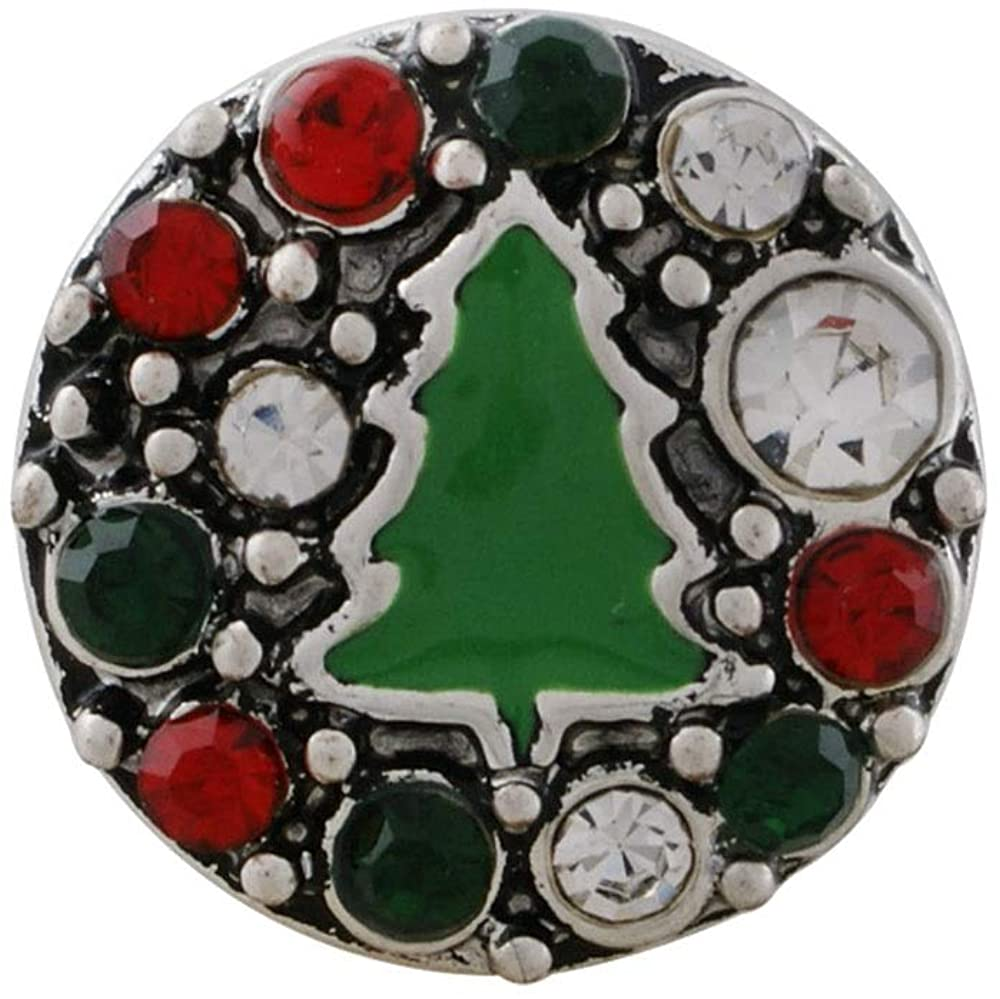 My Prime Gifts Mini Snap Jewelry Rhinestone Christmas Tree Holiday12mm