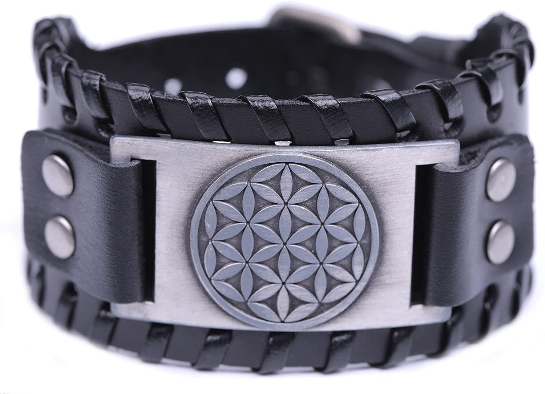 fishhook Wicca Flower of Life Ancient Egyption Sacred Geometry Talisman Bangle Leather Bracelet