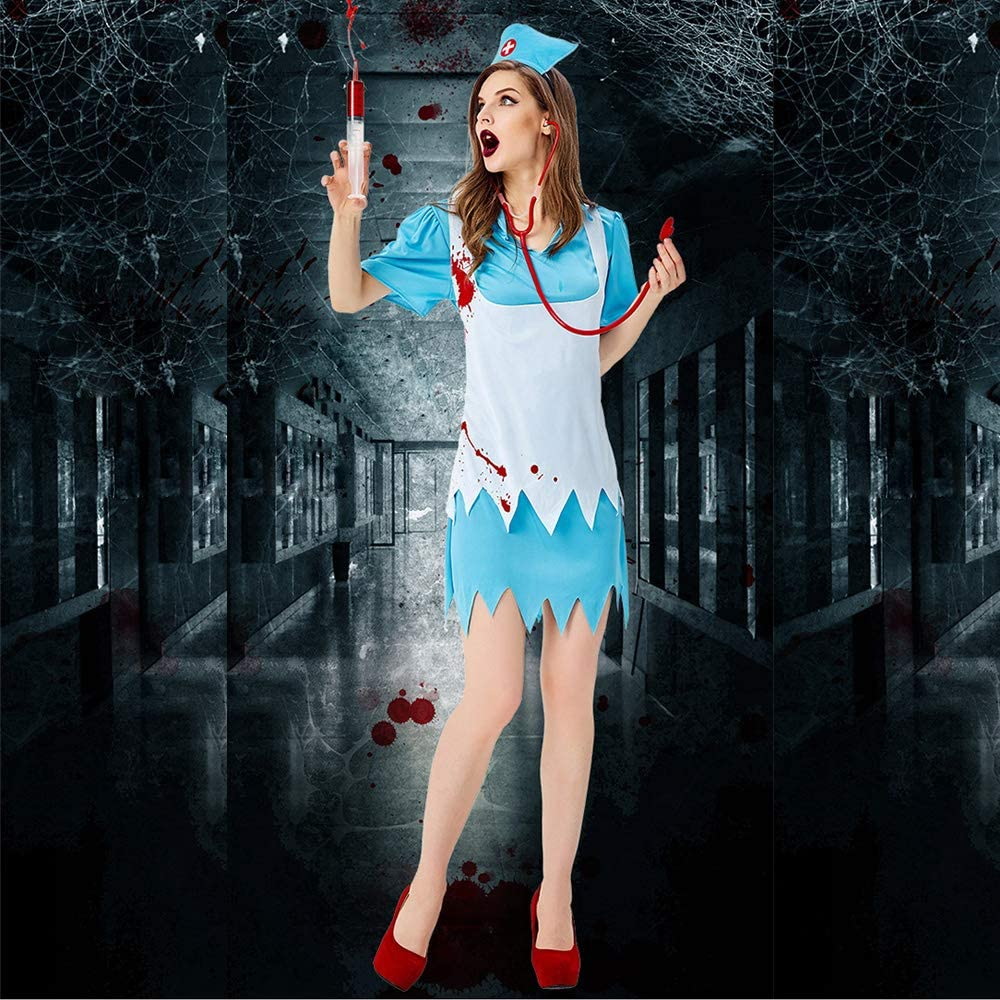 JJAIR Women's Fashion Nurse Costume, Womens Zombie Blue Nurse Costume Adult Bloody Sexy Horror Quality Dress Up for Women,M