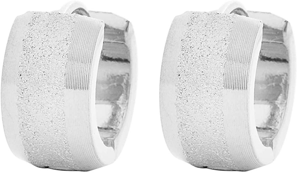 Edforce Stainless Steel Sandy Textured Huggie Hinged Hoop Dangle Earrings for Men Women