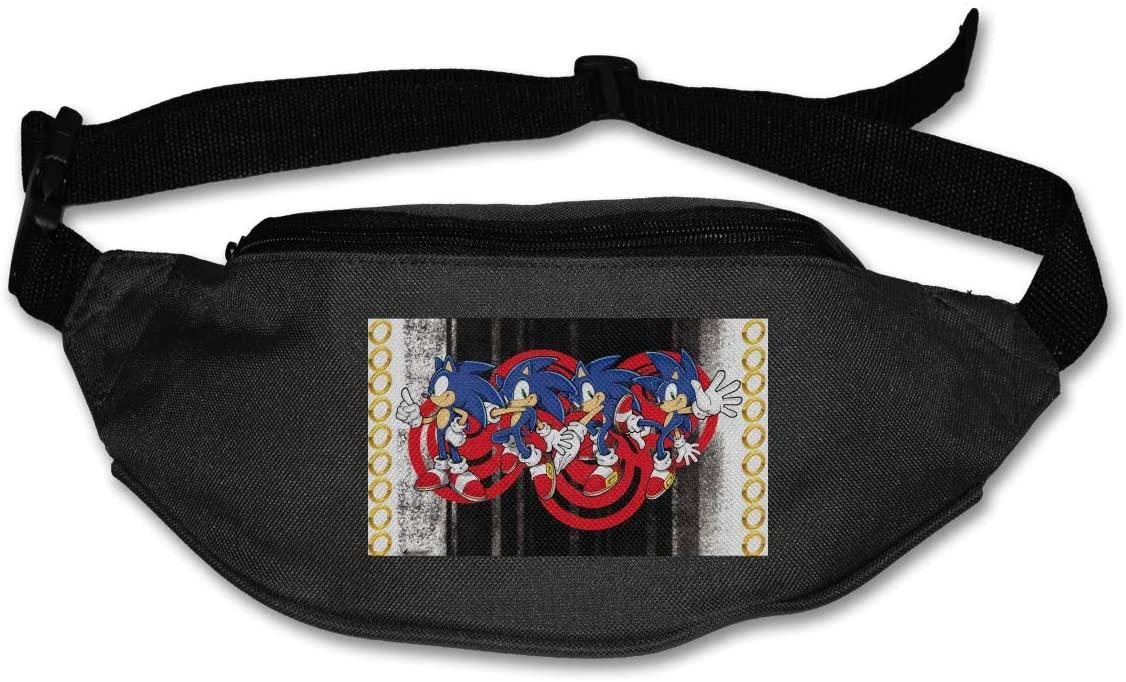 Ssxvjaioervrf Sonic The Hedgehog Running Belt Waist Pack Runners Belt Fanny Pack Black