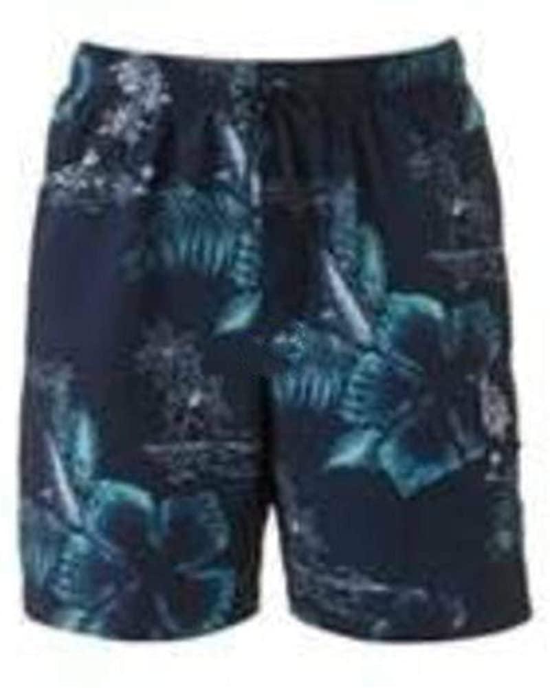 Croft & Barrow Men's Microfber Blue Hibuiscus Floral Cargo Swim Shorts Trunks-Size S