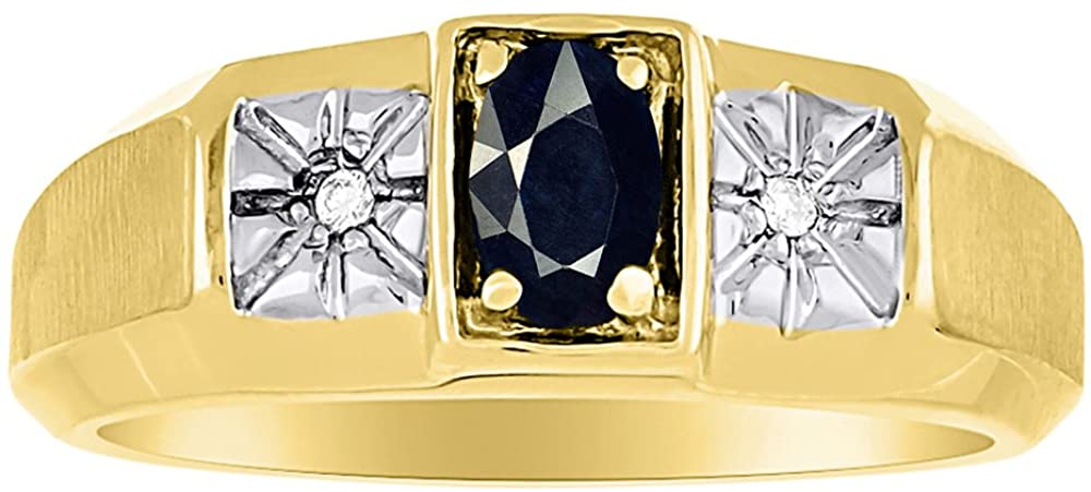 Onyx & Diamond Ring Sterling Silver or Yellow Gold Plated Silver