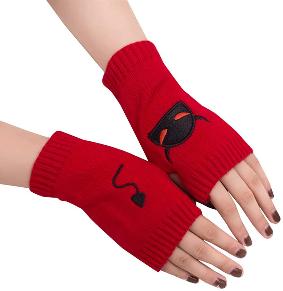 JSPOYOU Women Girl Knitted Arm Fingerless Warm Winter Gloves Soft Warm Mitten