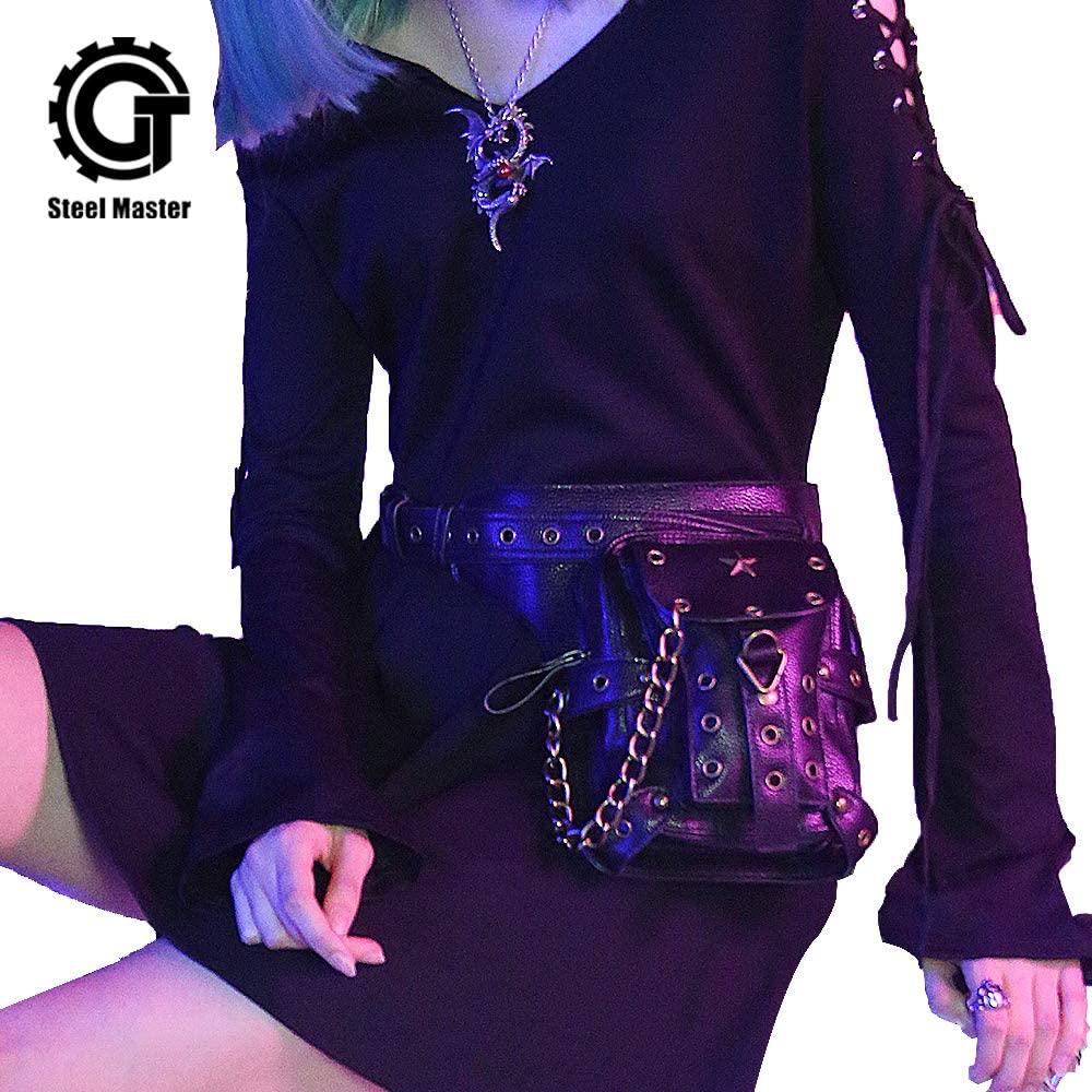 steel master Women Men Steam Punk Black Shoulder Bag Rock Gothic Rivet Waist Bags