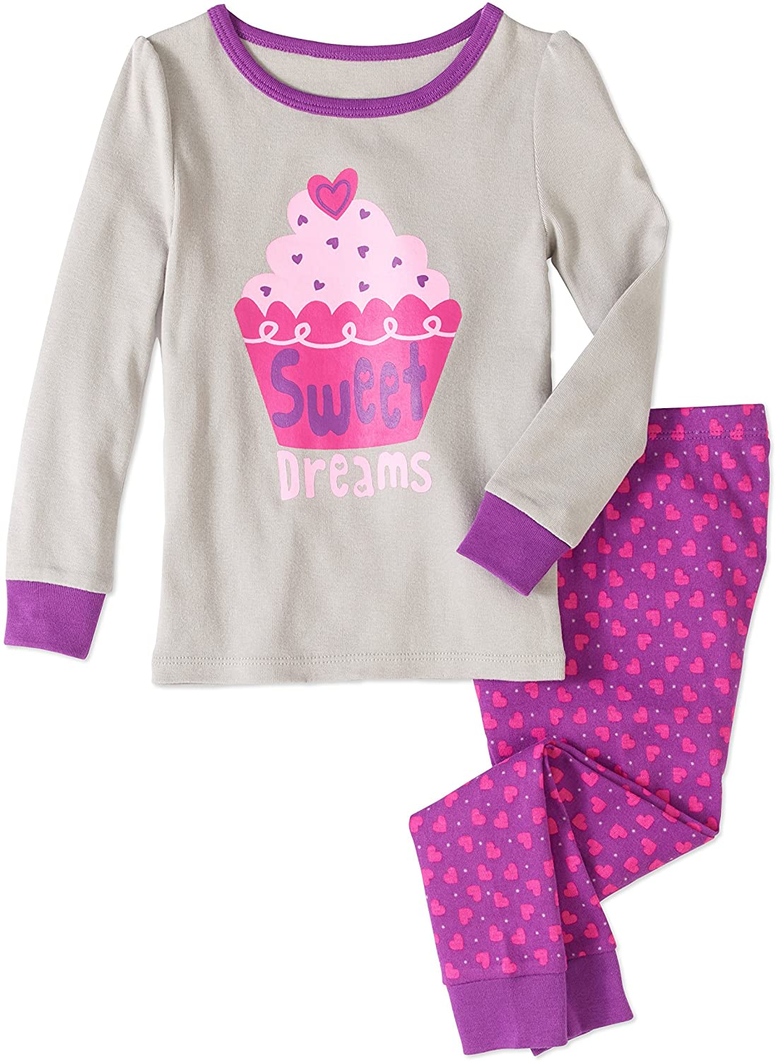 Baby and Toddler Girls Snug Fit Graphic Pajama Long Sleeve Shirt and Pants Two-Piece Set (2T, Sweet Dreams Cupcake)