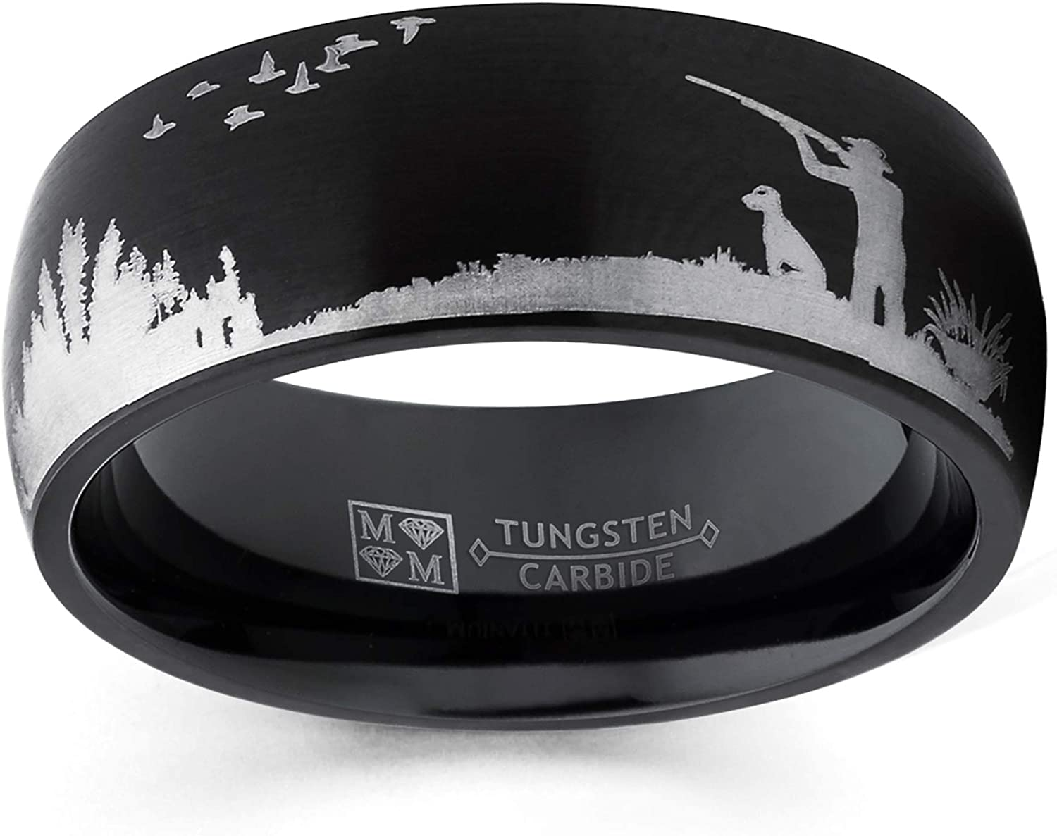 Metal Masters Co. Men's Black Tungsten Carbide Ring Wedding Band Bird Duck Hunting Outdoor Ring 8mm