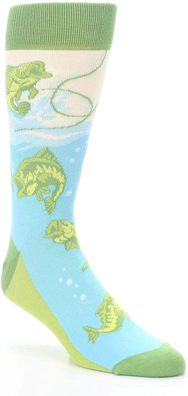 Green Blue Fishing + Lure Men's Dress Socks - Statement Sockwear