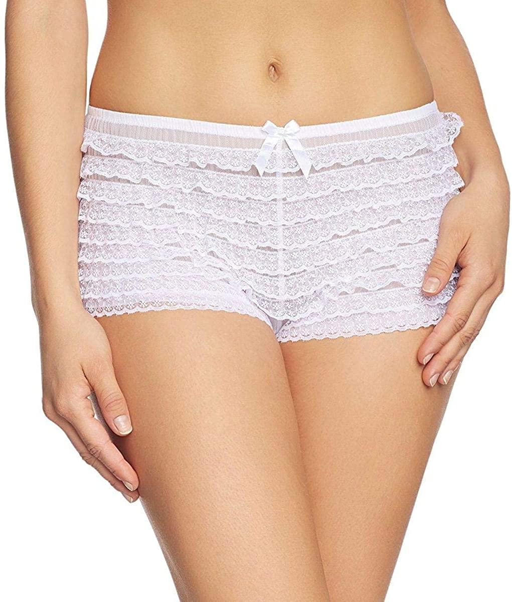 Leg Avenue Sexy White Ruffle Tanga Panties