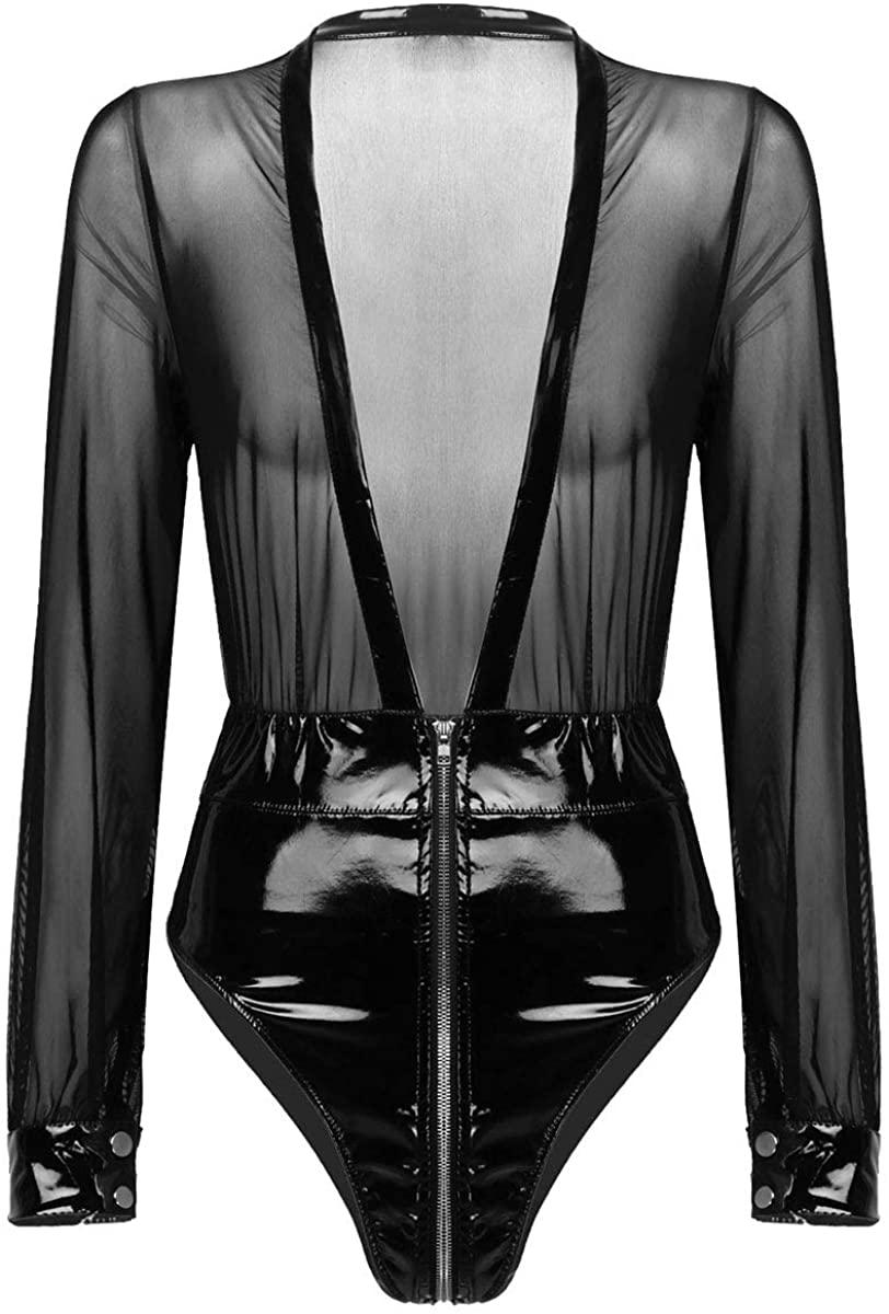TiaoBug Womens Sexy Sheer Mesh Deep V Neck Long Sleeve Tops Zip Leather Bodycon Bodysuit