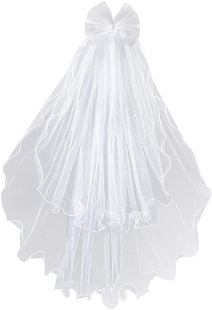 Lystaii Girls Bowknot Rhinestone Veil Flower Headband Hair Wreath Floral Crown Veil Girls Veil First Communion First Holy Communion Veils Headpiece Veil with Comb White for Wedding Party