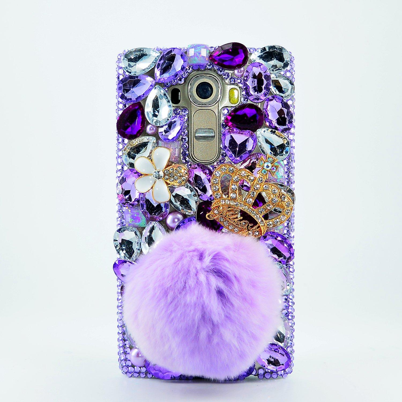 STENES LG Stylo 2 V Case, [Luxurious Series] 3D Handmade Shiny Crystal Sparkle Bling Case With Retro Bowknot Anti Dust Plug - Crown Rabbit Tails Villus Flowers/Purple