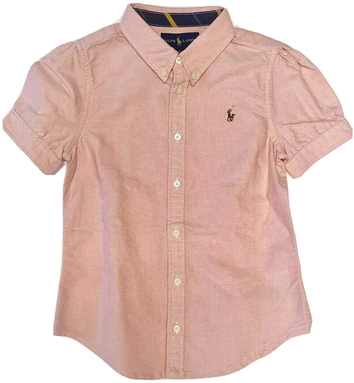 Ralph Lauren Polo Girls Shirt Kids Short Sleeve Oxford Top Size 6, 6X Pink