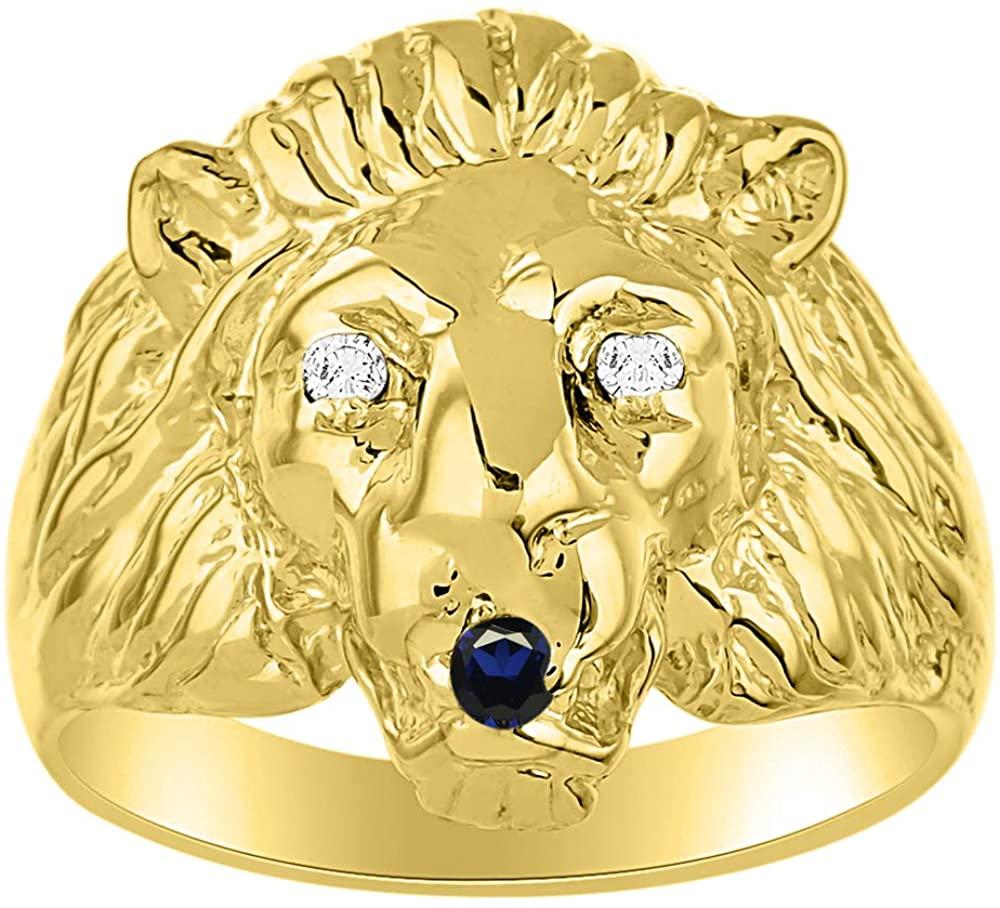RYLOS Lion Head Ring with Genuine Diamonds & Precious Stones Set in 14k Yellow Gold