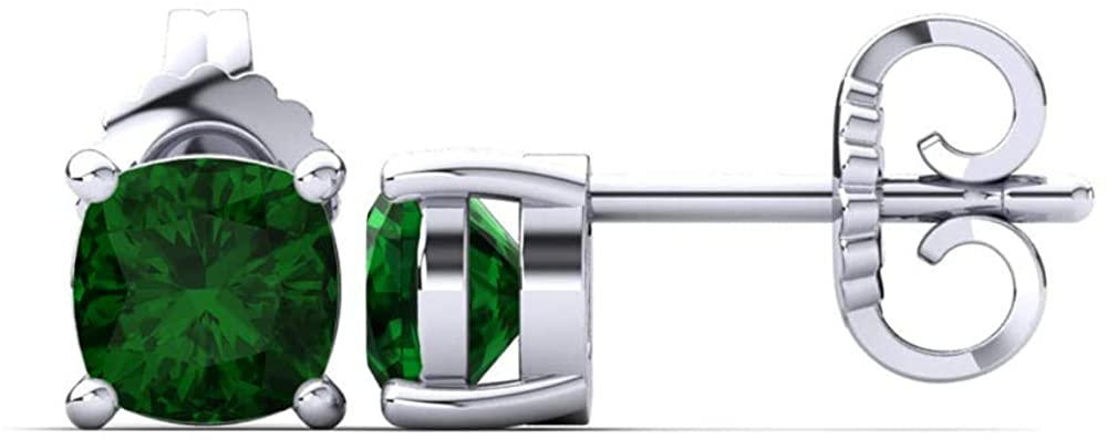 Dividiamonds 5mm-9mm Cushion Cut D/VVS1 Green Emerald Diamond Solitaire Stud Earrings In 14K White Gold Plated 925 Sterling Silver