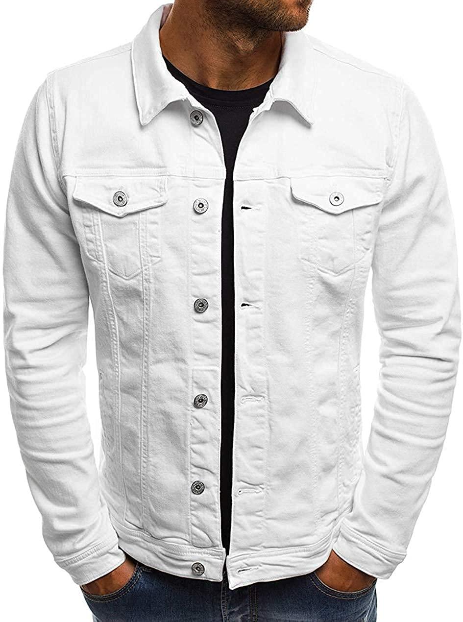 Gsdgjgg Men's Multi Color Button Front Cotton Lightweight Denim Trucker Jacket,White,Medium