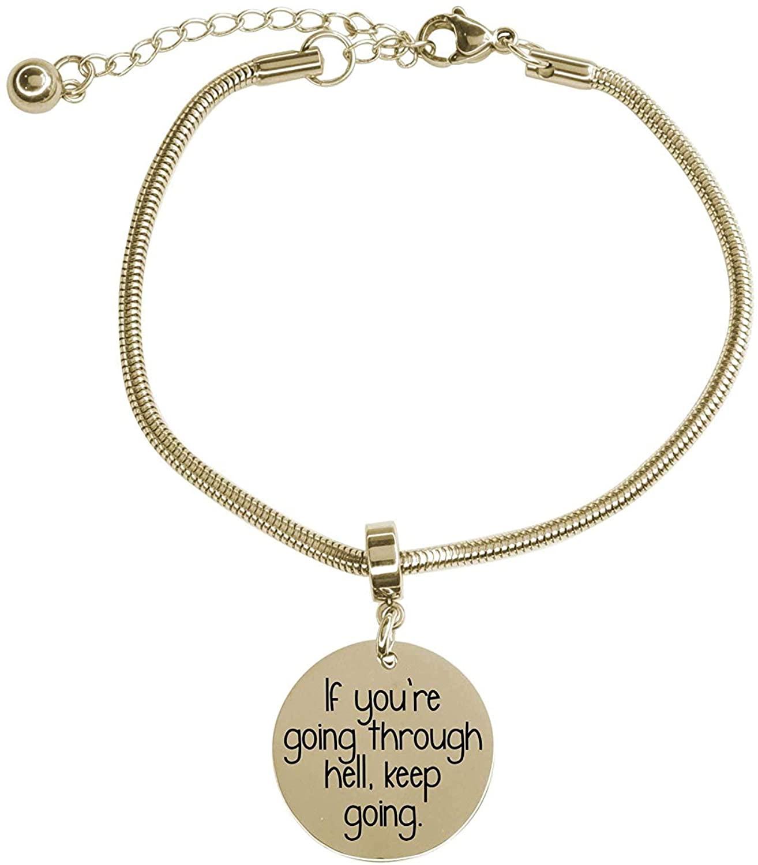 Pink Box Adjustable Snake Chain Inspirational Bracelet Gold - Going Through Hell