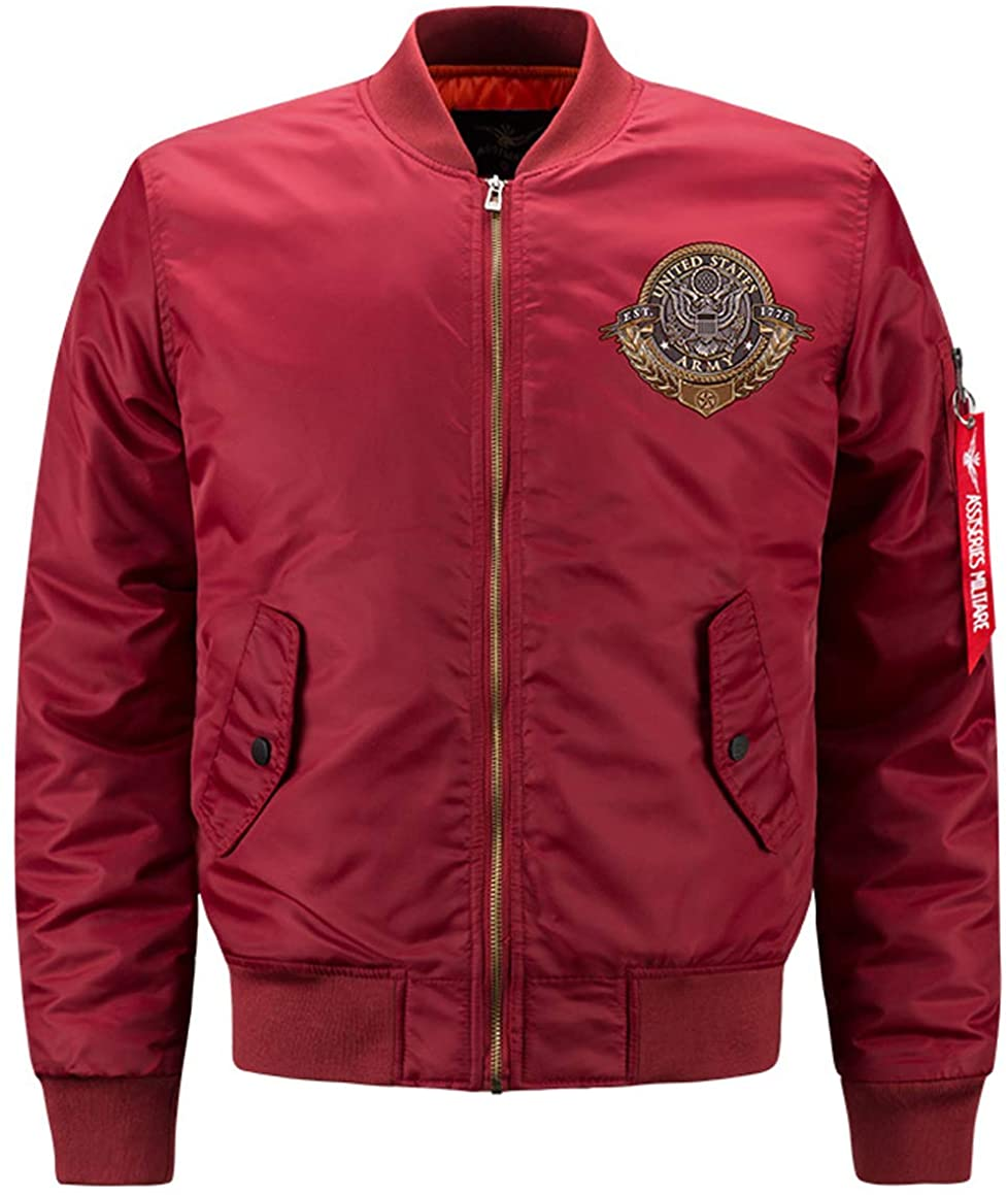 JEWOSOR Men's Bomber Jacket Lightweight Casual Spring Fall Embroidery Flight Bomber Zip Pockets Coat Outwear