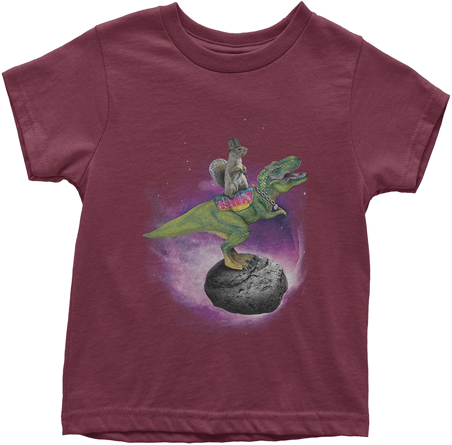 Expression Tees Squirrel Riding T-Rex Youth T-Shirt