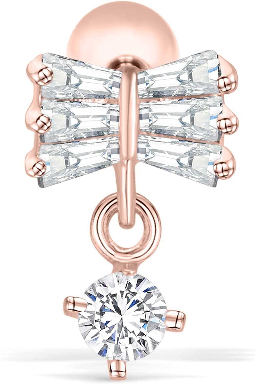 ONDAISY 14K Gold Plated Stimulated Diamond Cz Cat Bow Tie Knot Love Ribbon Ear Stud Earring Piercing For Women Girls