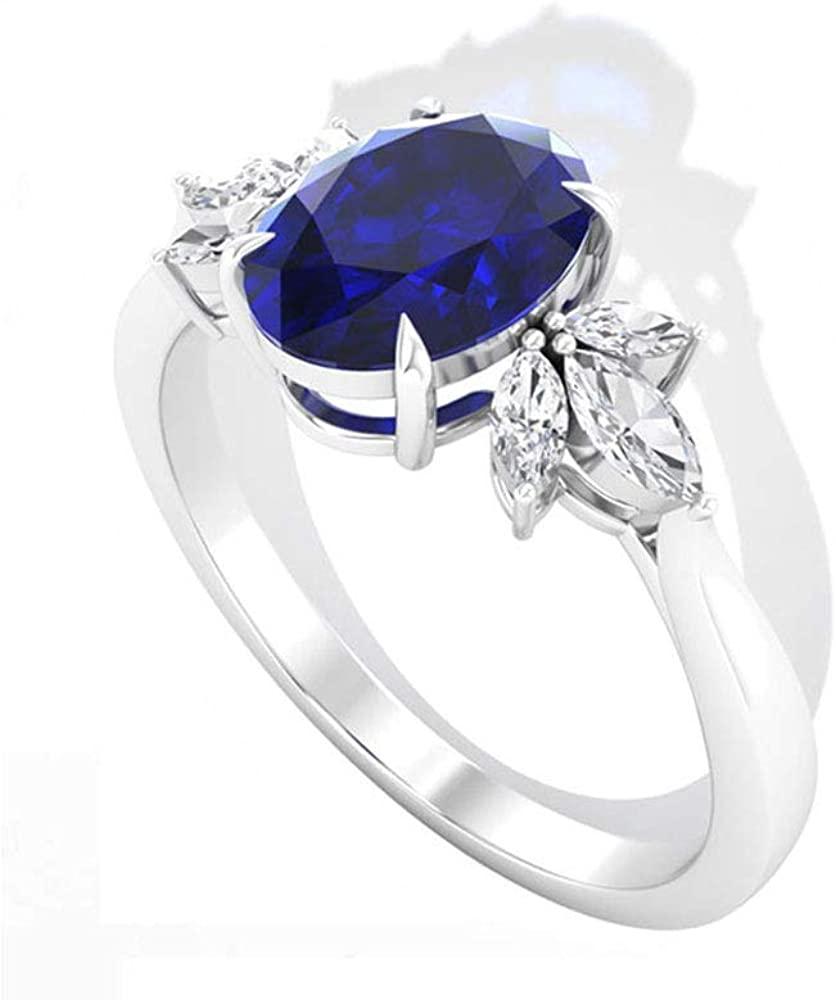 1.55CT Antique Blue Sapphire Diamond Engagement Ring, Marquise IGI Certified Diamond Petal Wedding Anniversary Ring, September Birthstone Promise Ring, 14K White Gold, Size:US 6.5