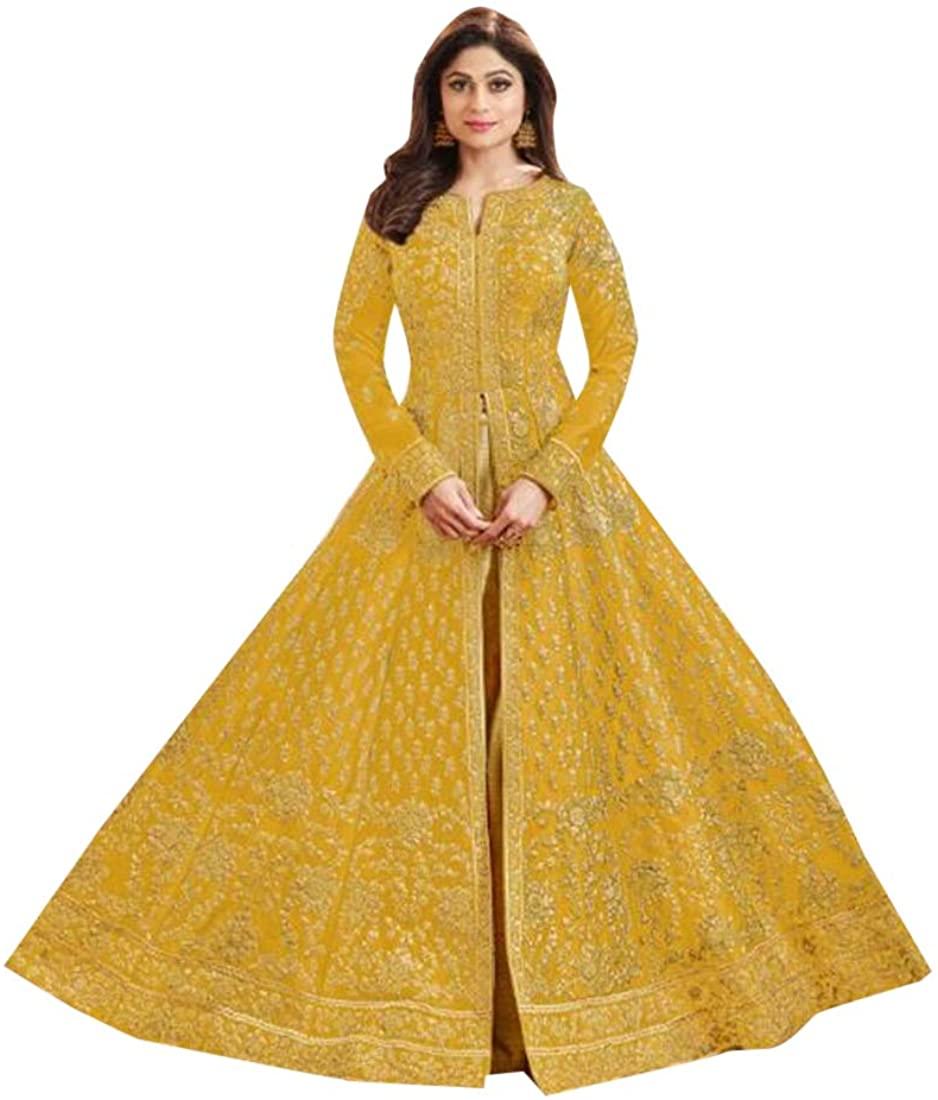 Mustard Yellow Indian Bollywood Designer Dupion Silk Heavy Anarkali Skirt style Suit Muslim Women Ethnic dress 8409