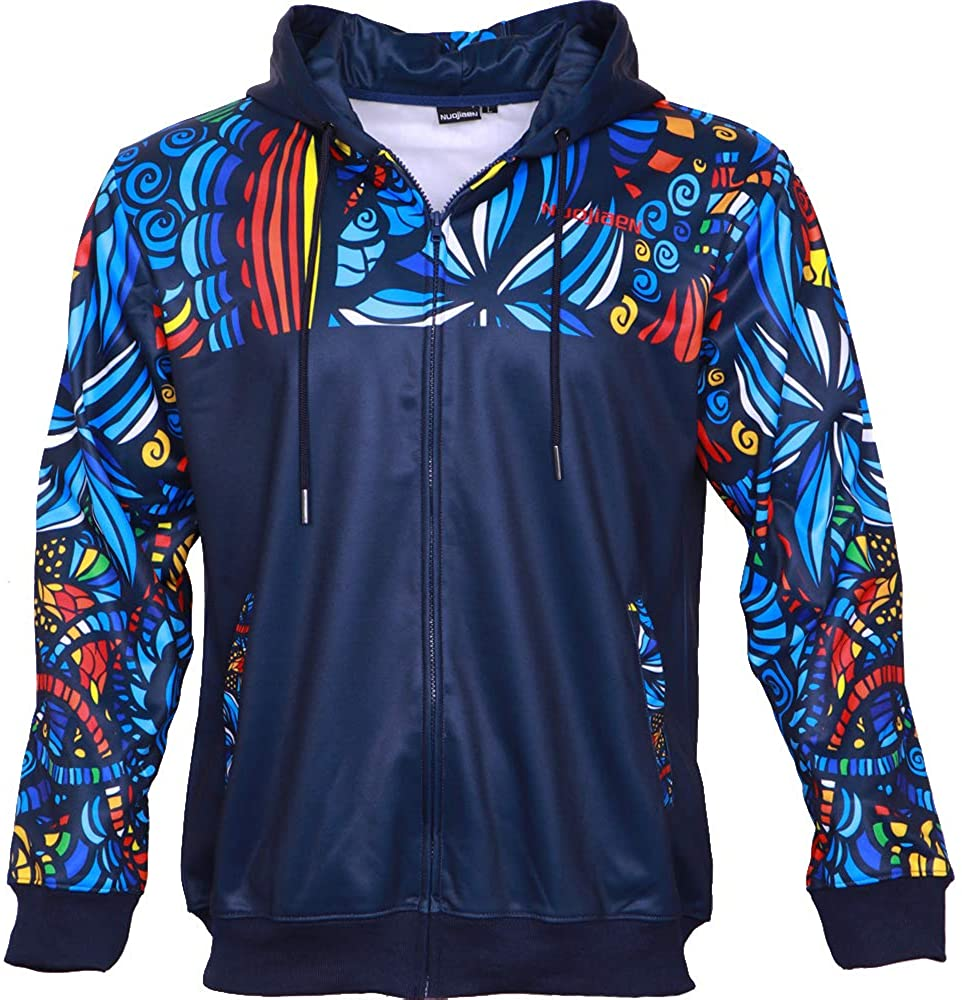 nuojiaen Men's Sweater Long Sleeve Casual Fashion Full Zipper Hoodies with Pockets 3D Printed Full Sublimation
