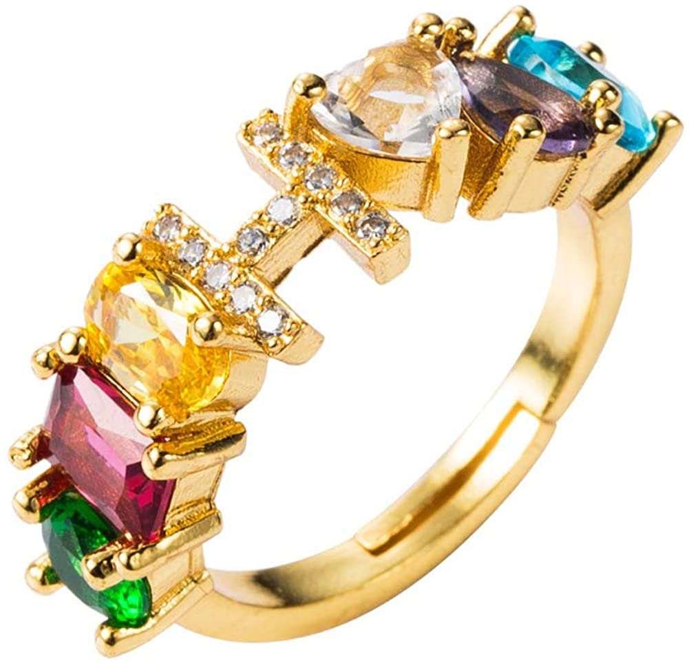 Rings,Ratus Unisex Rainbow Cubic Zirconia Inlaid Letter Open Ring Adjustable Jewelry Gift - H