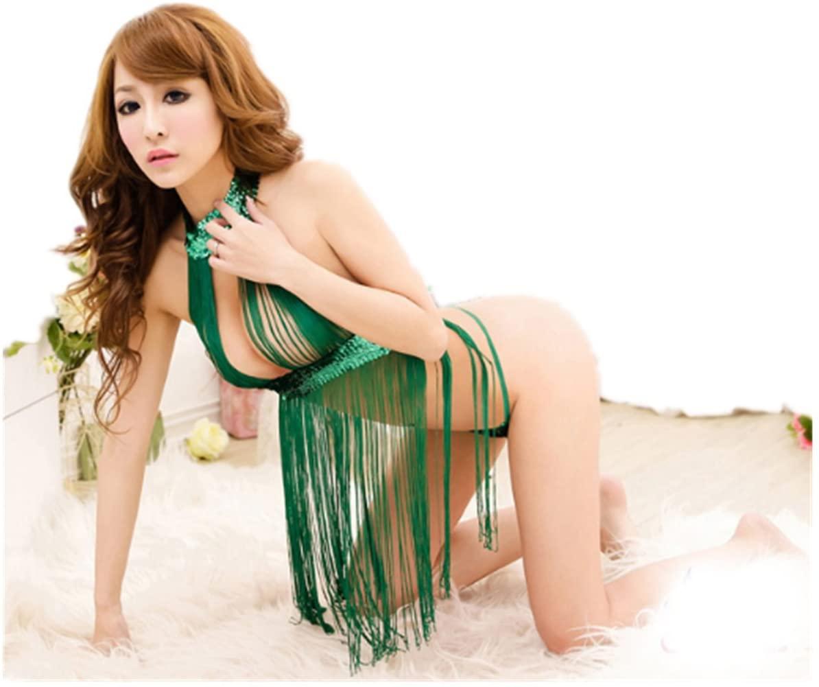 Micrkrowen Fun Green Sequined Tassels Lingerie Underwear