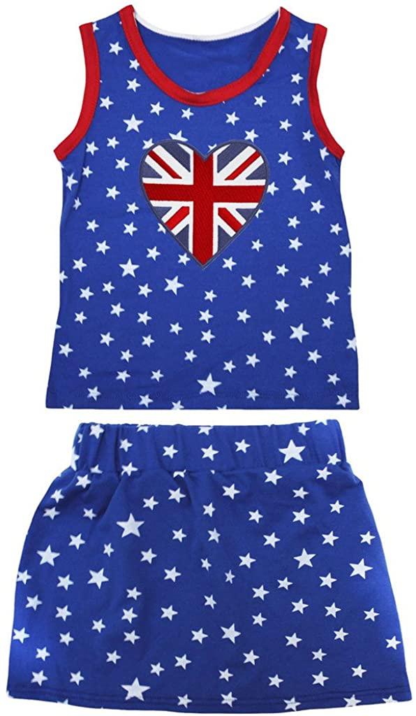 Petitebella British Heart Patriotic Stars Red Cotton Shirt Blue Skirt Set 1-8y